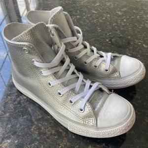 Converse All Stars Kids Silver High Top Sneakers